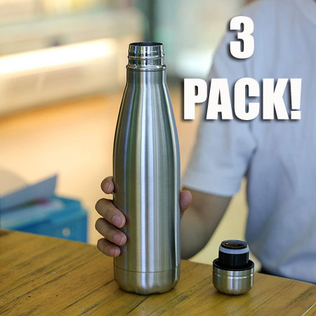 ONLY $5.49 PER BOTTLE! - THREE PACK of Double Walled Vacuum Insulated Stainless Steel Water Bottles -17-Ounce - Works like Yeti Bottles! Keeps Cold for 24hrs & Hot for 12! $25 each in stores $5.49 each from us! ($16.47 for 3) - GREAT deal because they arrive in stainless steel color or black at random - Grab for yourself and as gifts! Order 2 or more 3-packs and SHIPPING IS FREE!