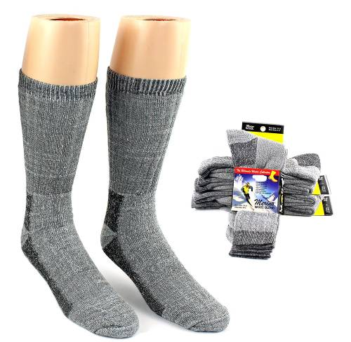 2 Pairs of Thermal Merino Wool Crew Socks - Fits men's shoe size 7-12 - You're getting a GREAT deal simply because you will receive assorted colors, brown, gray, black etc - $1.49 shipping, but order 6 or more sets of 2 pairs and SHIPPING IS FREE!