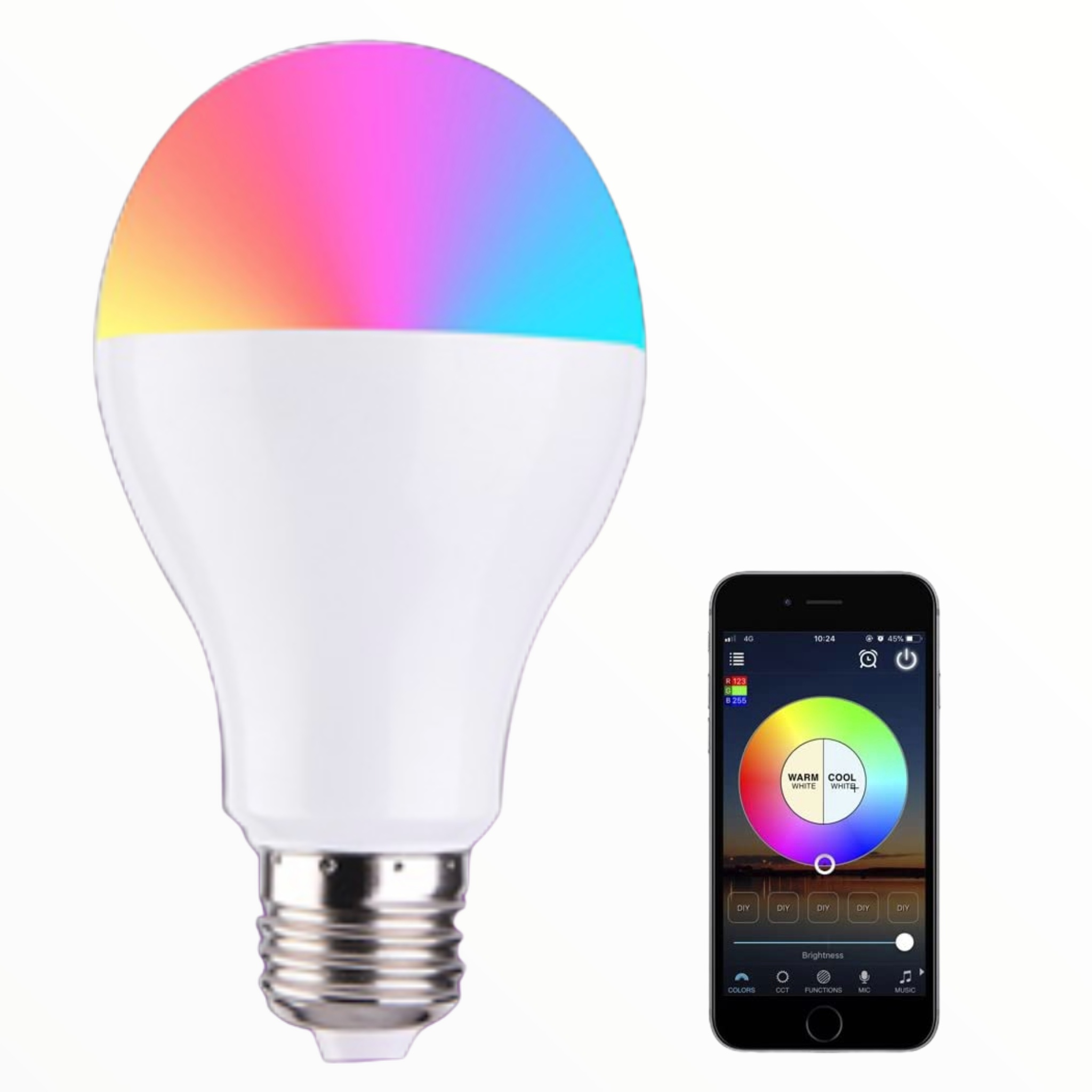 Smart WiFi Enabled LED Dimmable Color Changing Light Bulb - Control with your phone! Set a timer, sync it to music, select the exact color or brightness! Yup, this is awesome! - $1.49 shipping, but order 2 or more and SHIPPING IS FREE!