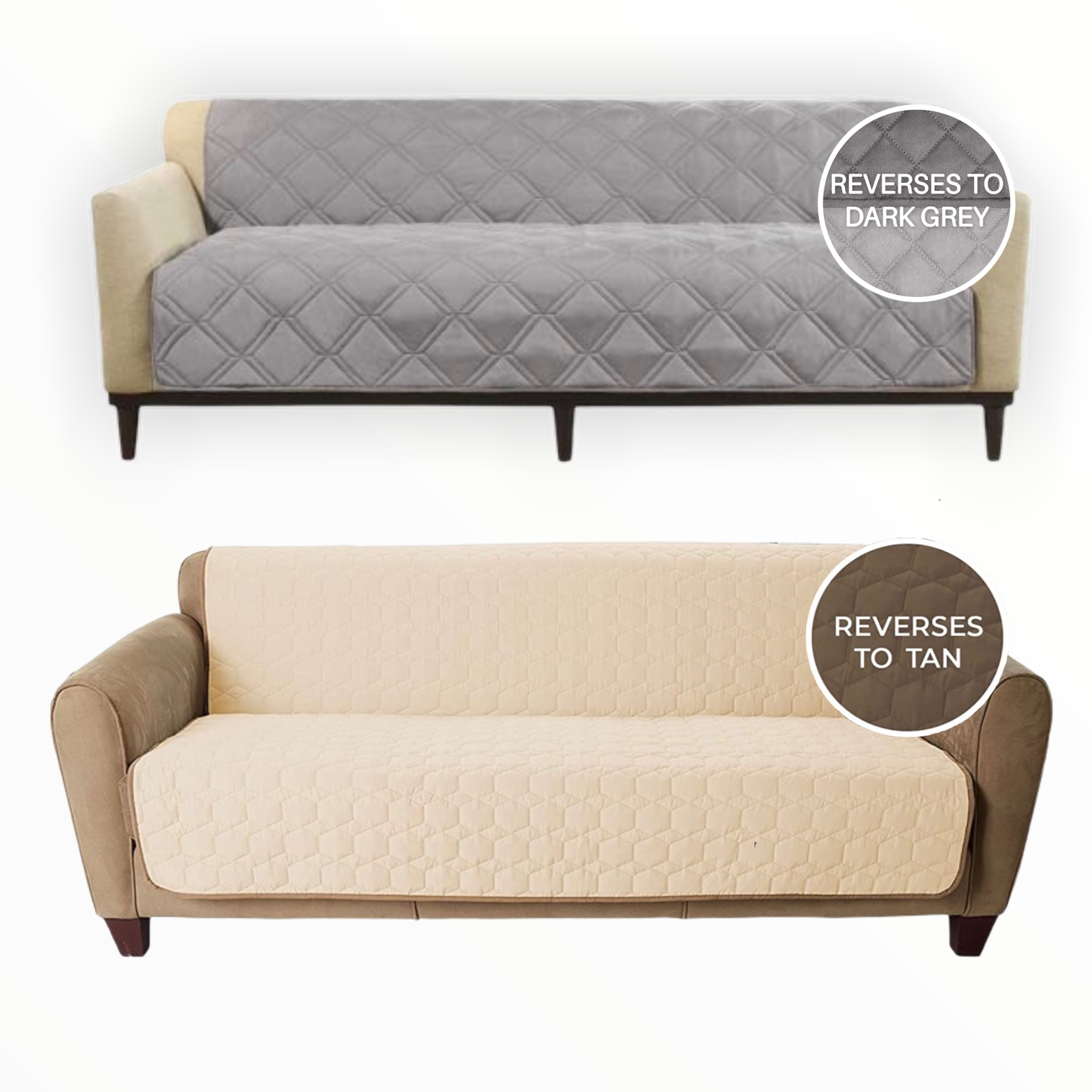 SureFit Reversible Couch / Bed Cover - Design makes this couch cover a perfect fit for all types of furniture including your sofa, futon or bed. - Super durable protecting from pets, kids and all kinds of stains! -  Machine washable! - Available in 2 reversible colors: Light Gray / Dark Grey and Mocha / Cream - SHIPS IMMEDIATELY!