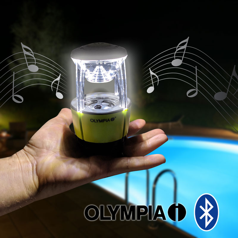 Olympia Jamlight Rechargeable Led Lantern With Built-In Bluetooth Speaker & Microphone - Have light AND listen to your music at the same time! Oh, and you can even use this to take calls from your phone! Up to EIGHT HOURS of music time on one charge! SHIPS FREE!