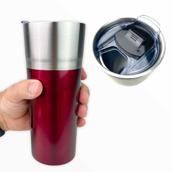 4-Pack Double Walled Vacuum Insulated Tumblers with Wide Mouth Lid