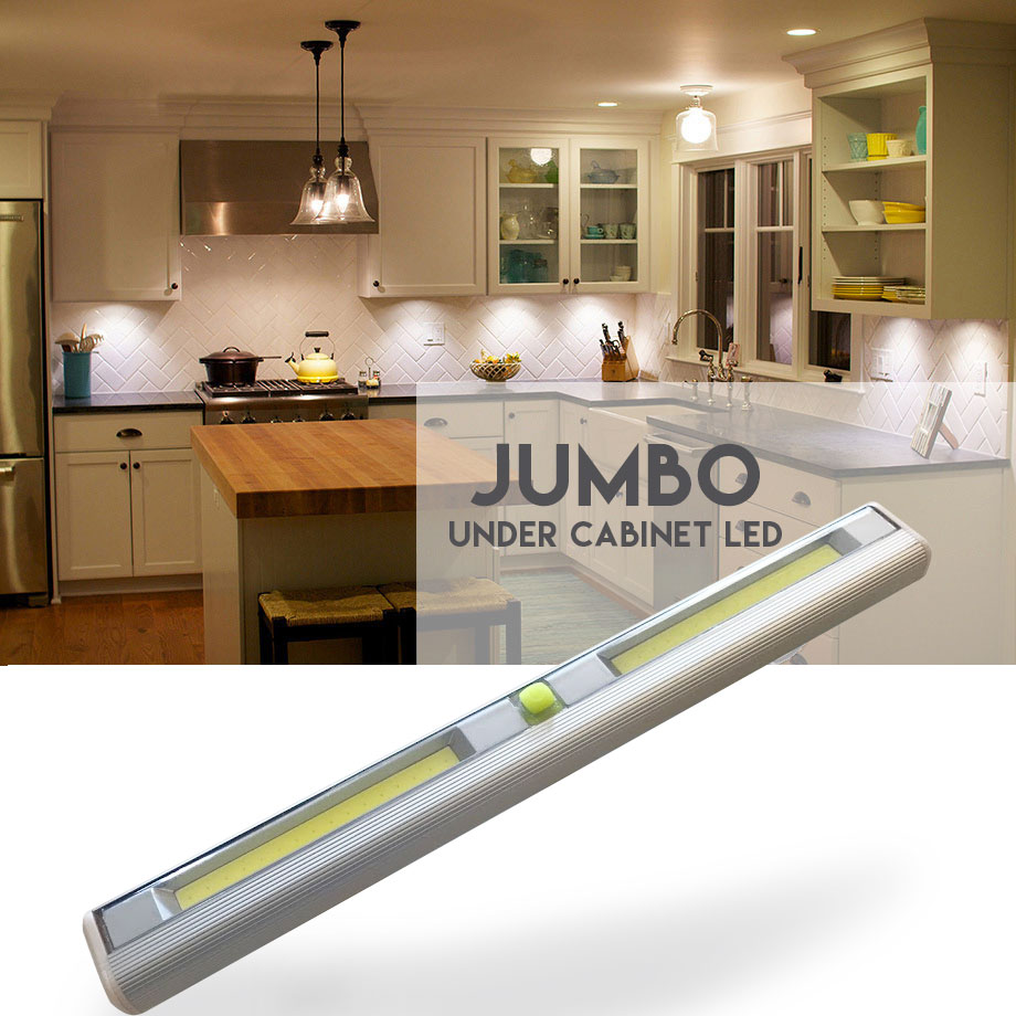 VERY Popular, SEE THE VIDEO! Jumbo Size Wireless Under Cabinet LED Light - Available in Standard On / Off Button and Motion Activated! - Order 6+ for only $5.99 each! SHIPS FREE! BONUS: GRAB YOUR PHONE AND TXT THE WORD SECRET TO 88108 FOR ACCESS TO SECRET DEALS!