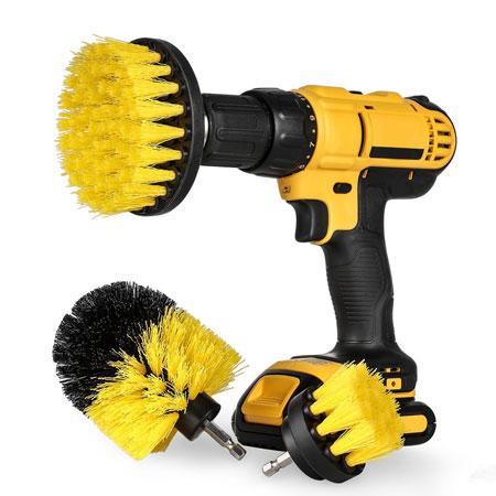 3 Piece Scrub Brush Drill Attachment Kit
