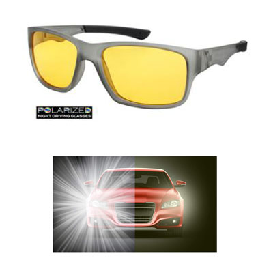 Polarized Night / Rainy Day Driving Glasses - Drastically improves visibility at night and during rain! Reduces glare and