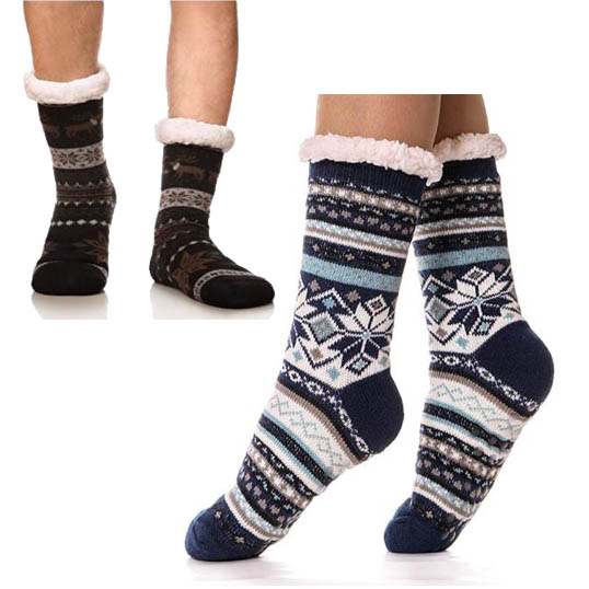 Super Soft Warm Cozy Sherpa-lined Cabin Socks with Grippers