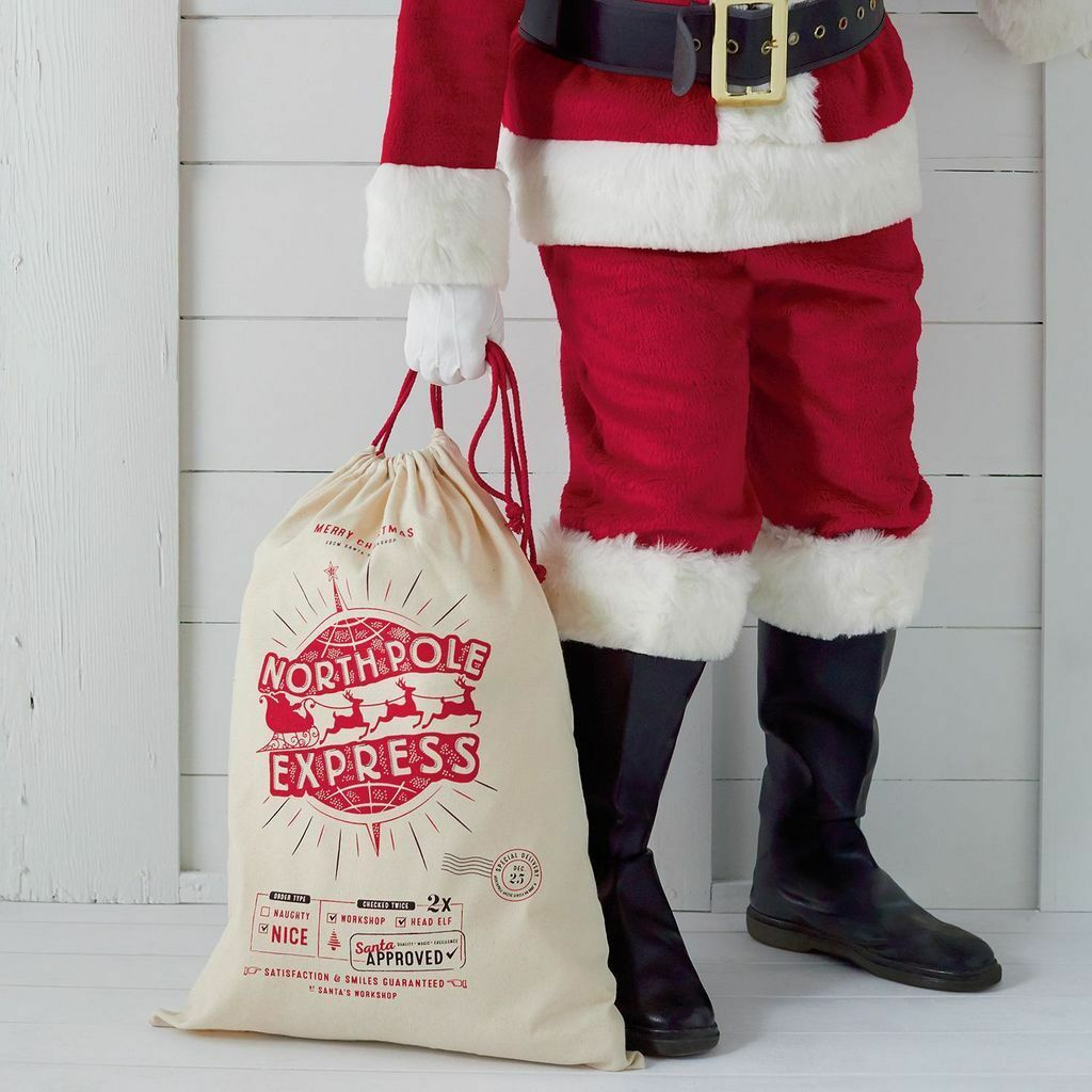 CYBER MONDAY DEAL - Santa's North Pole Express Delivery Canvas Gift Bag - AWESOME Way to Give Your Gifts (Or Have Us Jump Start It With a Mystery Gift Included -  Order 6 or more and SHIPPING IS FREE!
