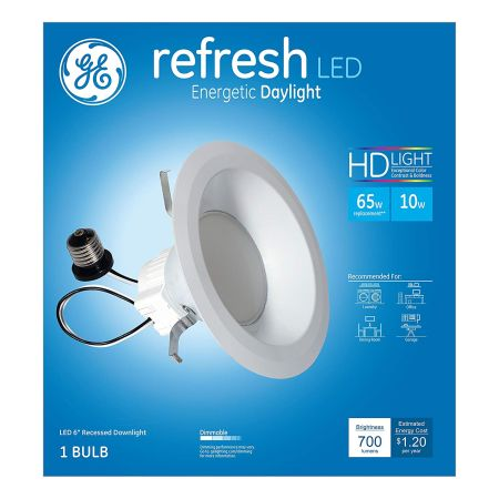 ThatDailyDeal: GE Lighting 68579 LED Refresh HD 10-watt -65-watt Replacement, 700-Lumen 6-Inch RS6 Recessed Downlight Kit - Add / replace recessed lighting in your home for pennies on the dollar! These are $25 EACH at Home Depot! $7.49, SHIPS FREE AND IMMEDIATELY!
