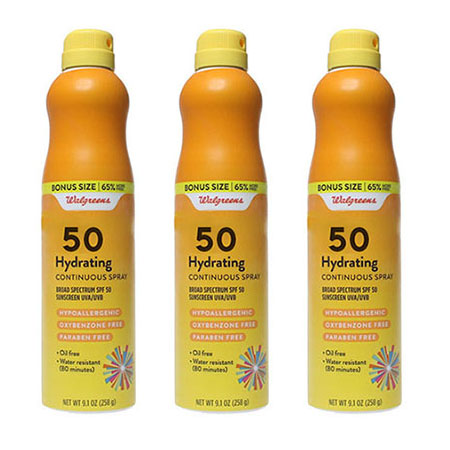 3-Pack Walgreens Hydrating Continuous Spray Water / Sweat Resistant Broad Spectrum SPF 50 Sunscreen 9.3 oz Cans
