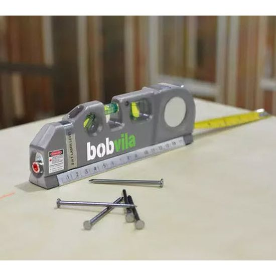 Bob Vila 4-in-1 Laser Level & Measuring Tool - It's a laser level, bubble level (for plumb and 45 degree), ruler AND a measuring tape! - Order 2 or more and SHIPPING IS FREE!