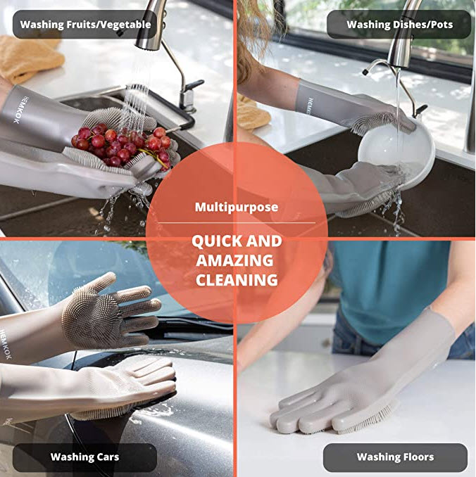 Silicone Scrubbing / Cleaning Gloves - Great for dishes for sure, but also for much much more! - SHIPS FREE!