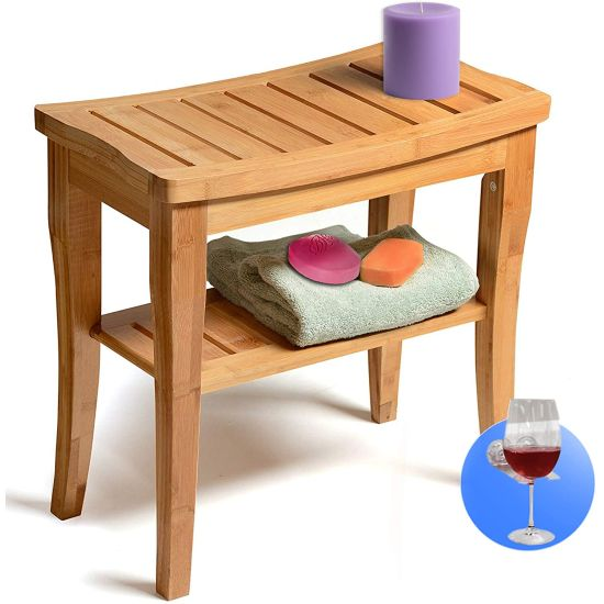 Bamboo Bench Table Stool With Storage Shelf Perfect For Indoor Or Outdoor $34.99 (reg $90)