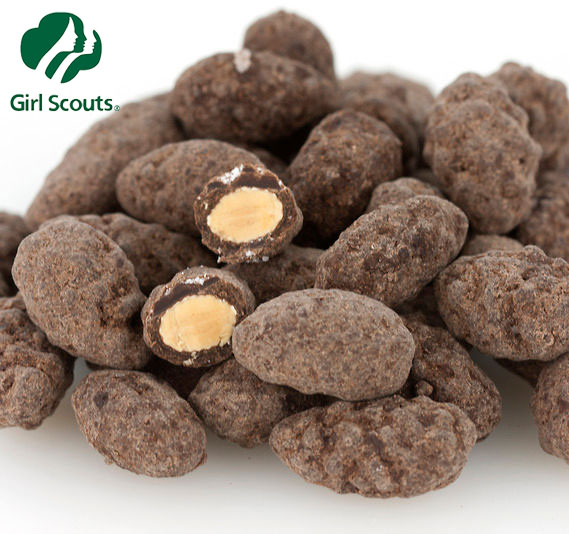 ONLY AVAILABLE ONCE A YEAR - Girl Scouts Dark Chocolate and Sea Salt Covered Almonds - One for $6.49 or 6 or more for $4.98 each! THESE ARE AMAZING! SHIPS FREE!