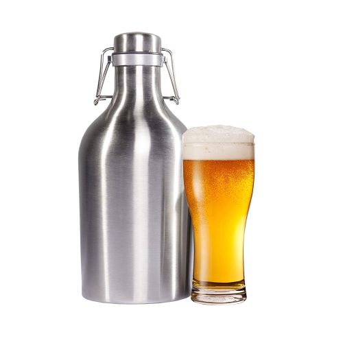 Stainless Steel Beer & Beverage Growler - 64 Oz. Bottle with Secure Swing Top Lid for Freshness - $30 on amazon, but just $14.49 from us! You're getting a GREAT deal on these because they have assorted beer brand logos and prints on them.. which, in our opinion, make them even better - ORDER 4 OR MORE AND SHIPPING IS FREE!