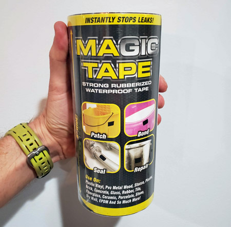 NEW LARGER SIZE! GREAT for Repairs! Rubberized Waterproof Magic Tape - ENDLESS Uses! Can be applied hot or cold, wet or dry, even underwater - New large size, but you can also cut it down to fit smaller repairs - SHIPS FREE! BONUS: GRAB YOUR PHONE AND TXT THE WORD SECRET TO 88108 FOR ACCESS TO OUR SECRET DEALS!