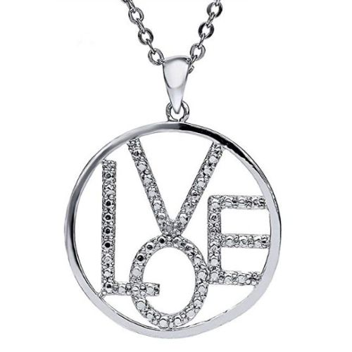 $17.99 (reg $50) Genuine Diamond Accent Love Circle Pendant Sterling Silver Necklace