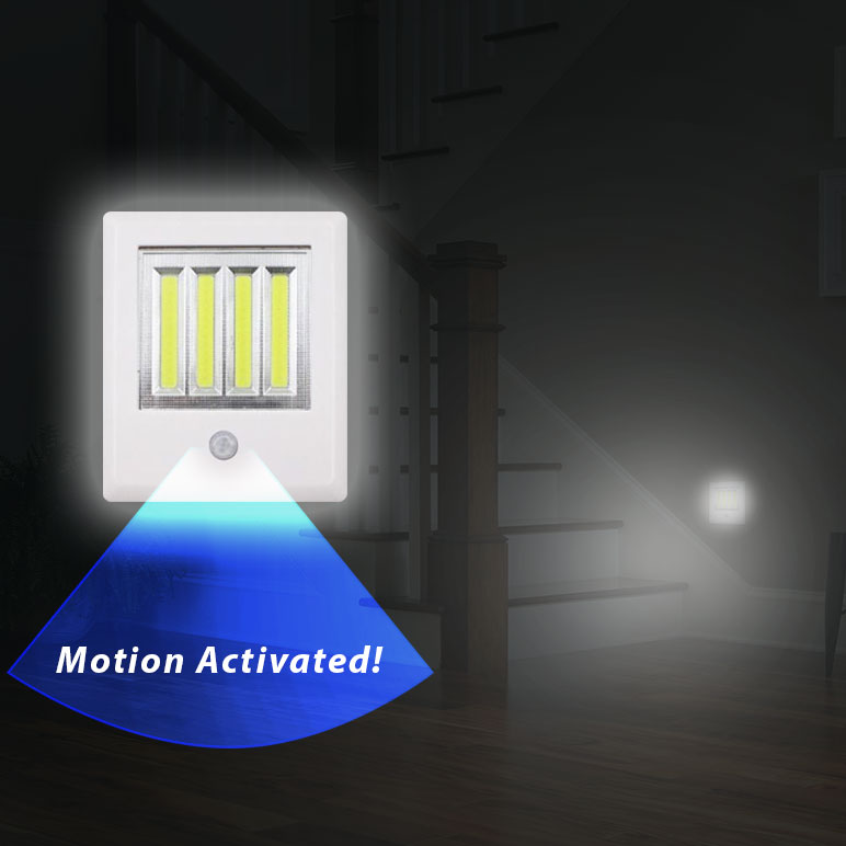 THIS IS CRAZY CHEAP FOR MOTION LIGHTING - New Wide Style Wireless COB LED Instant Stick Up Or Magnetic MOTION SENSOR Night Light - Great for stairs, bathrooms, hallways and more! Batteries INCLUDED! - Order 2 or more for only $4.99 each! SHIPS FREE!
