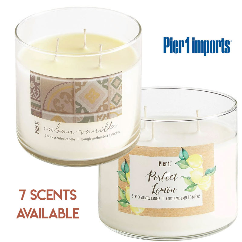 $9.99 (reg $17) Large 3 Wick 14 Ounce Soy Candles by Pier 1