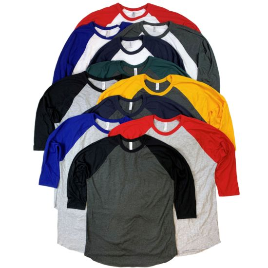6-Pack American Apparel Ultra Soft Cotton Raglan Style T-shirts