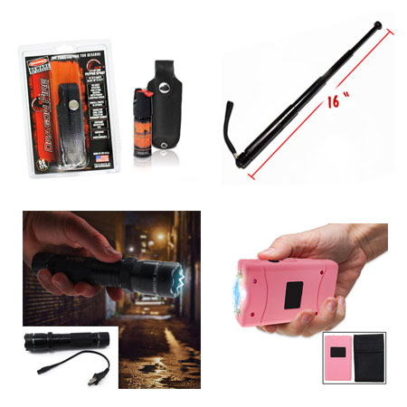Self Defense Must-Haves - Aluminum Rechargeable LED Flashlight With Built-In Stun Gun, Pepper Spray, Ladies 3 Million Volt Stun Gun With Nylon Pouch w/Belt Loop,  and Retractable Metal Baton - Simple, discrete, and effective self defense tools for you and your loved ones! Grab one of each for yourself & anyone you think may need protection! - Starting at $5.99