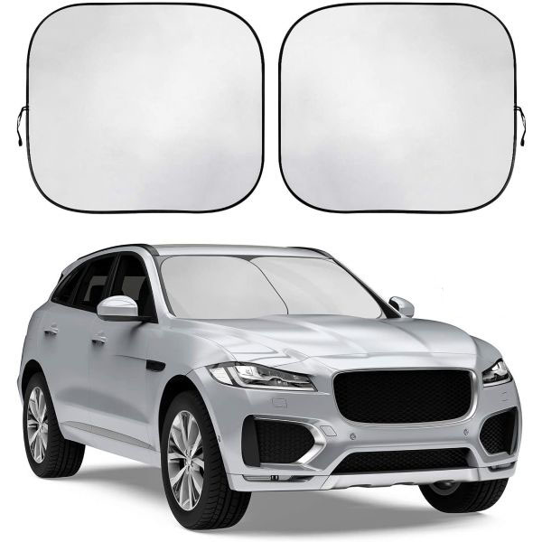 2-Piece Foldable Sun Shade - Each panel is 28.5 x 31.5 - The 2-pieces allow for better fit for your vehicle - Keep your vehicle surface up to 44 degrees cooler! - $1.49 cent shipping, but order 2 or more and SHIPPING IS FREE!