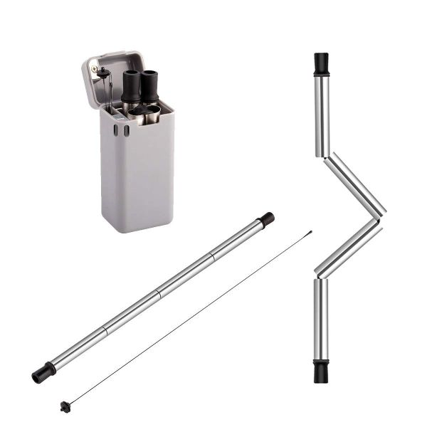 2-Pack Stainless Steel Collapsible Metal Straw