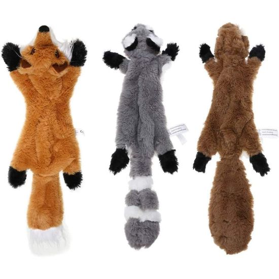 3-Pack Stuffingless Squeaky Plush Dog Toys