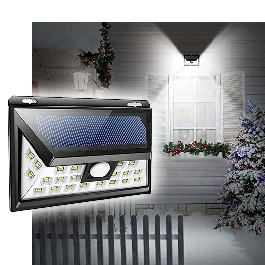 CLEARANCE - NEW WIDE STYLE - Solar Powered Motion Sensor Weather Proof Light Indoor-Outdoor 32 LED Light by Z tech - NEW wide style and additional lights on the side allows for a far great casting of light! Great for decks, patios, stairs, driveways, over doorways and more!