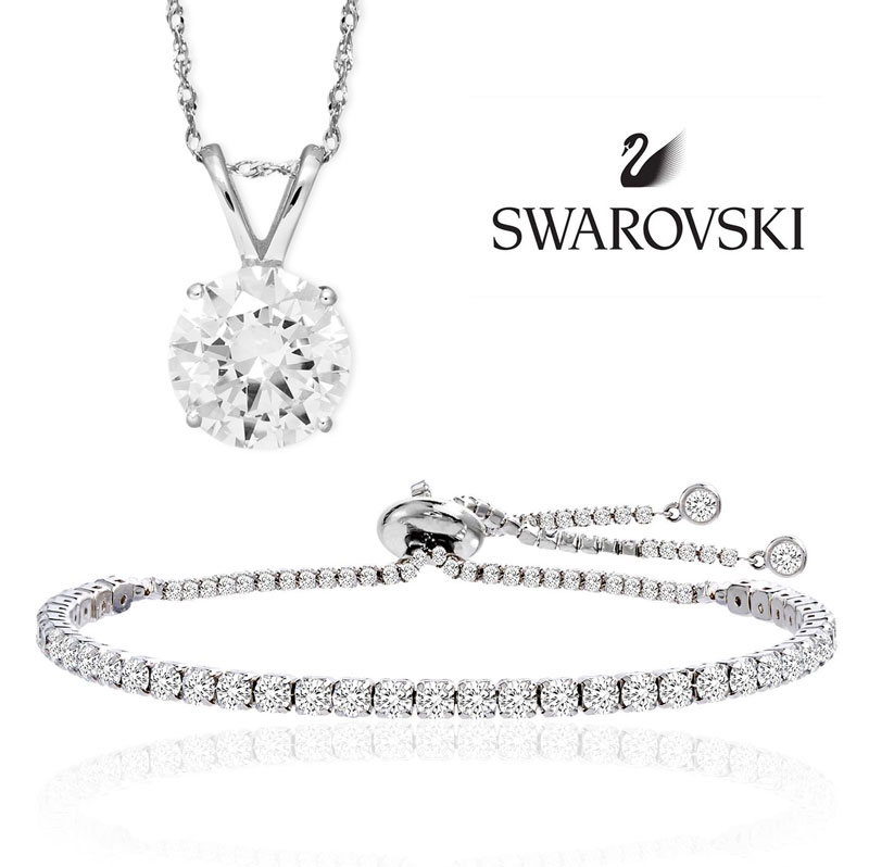 $24.99 (reg $150) Swarovski Crystal Tennis Bracelet OR Necklace with Round Pendant