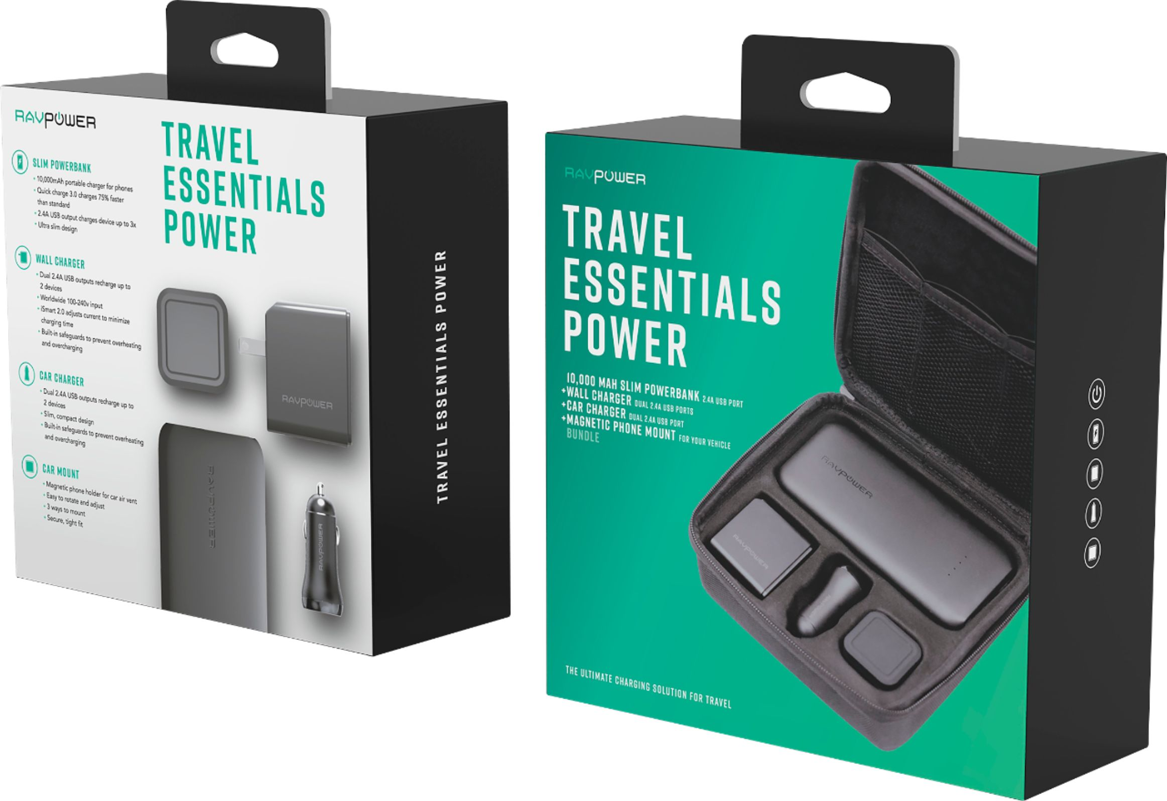 RAV Power - All-in-One Portable Mobile Power Kit - You get ALL OF THIS: 10,000 mah ULTRA High Capacity Dual Port Portable Power Bank for your phone or any USB powered device (enough power to charge your Apple or Android phone over and over again - Can charge 2 at one time), Dual Port High Speed AC Power Adapter, Dual Port High Speed DC Power Adapter (for your car), Magnetic Cell Phone Car Mount and a Storage / Travel Case - $50 at Best Buy, just $24.99 from us! - Oh, know anyone with a phone? This makes a great nicely packaged gift :) - SHIPS FREE!