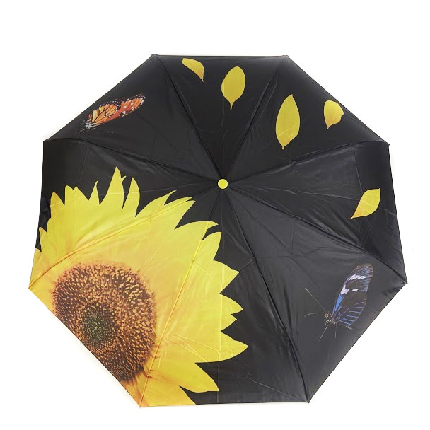 Sunflower and Butterfly Design Auto Open and Close Umbrella