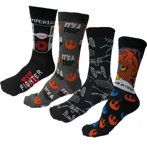 4-Pairs of Officially Licensed Adult ORIGINAL Star Wars Crew Socks