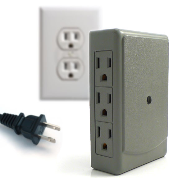 $5.49 DEAL! 6 Plug Side Entry Wall Outlet Multiplier - Creates more space & no more kinked cords! - $1.49 shipping, but order 2 or more and SHIPPING IS FREE!