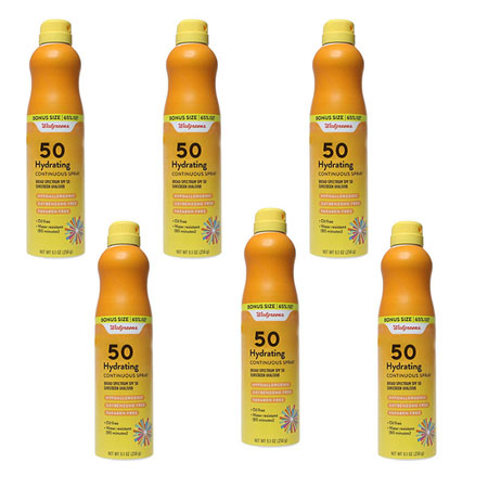 6 Pack of Walgreens Hydrating Continuous Spray SPF 50 Sunscreen - Bonus size 9.3 oz cans! These are $10.99 each at Walgreens, but your price is just $4.49 each! EVEN BETTER... Order 3 or more 6-packs for just $23.94, just $3.99 per spray! These are best by 3/21 (almost 2 YEARS) , so stock up at this crazy low price! - SHIPS FREE!