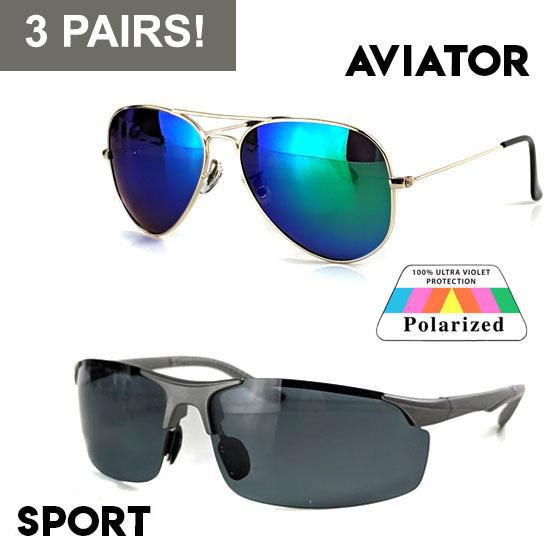 3 Pack Aviator or Sport Polarized Sunglasses