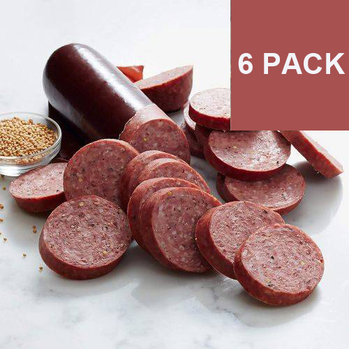 SIX Pack of Wisconsin Made Summer Sausages  Over 2 POUNDS of Summer Sausage! This is fresh and good for months, so load up! - ORDER 2 OR MORE 6-PACKS AND SHIPPING IS FREE!