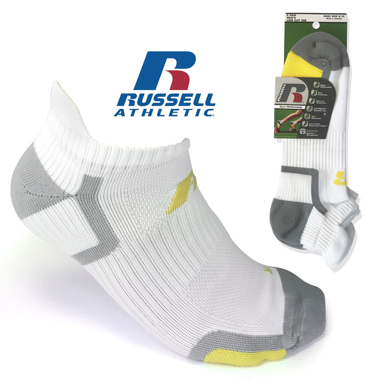 (Best Socks I've Ever Worn!) 4 Pairs of Men's Russell Sport Performance Socks available in No-Show, Ankle, and Low Cut With Tab - Arrives in White Or Black - These INCREDIBLY nice socks are $24 for 4 pairs in stores! Seriously, better than the $20/pair socks in my opinion! Order 2 or more 4-packs for just $4.99 each! SHIPS FREE & IMMEDIATELY! BONUS: GRAB YOUR PHONE AND TXT THE WORD SECRET TO 88108 FOR ACCESS TO OUR SECRET DEALS!