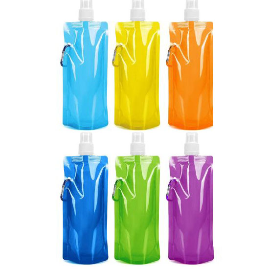 6-Pack Collapsible Canteen Foldable Drinking Water Bottles Bags